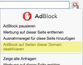 Deactivate Adblock